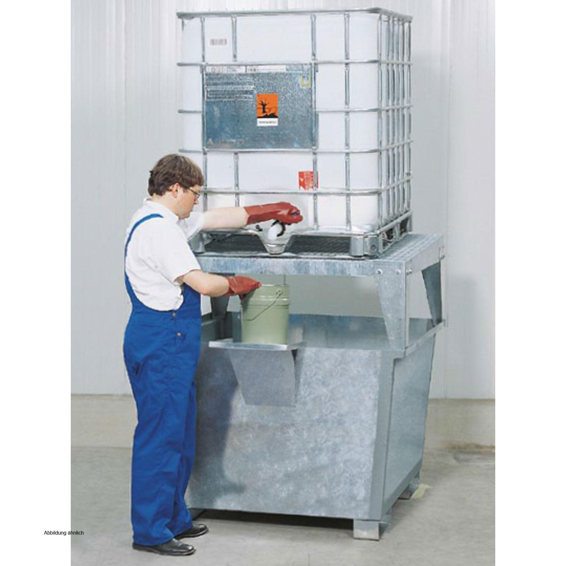 asecos Steel sump pallet 1 x KTC, galvanized, height 1390 mm, dispensing  platform