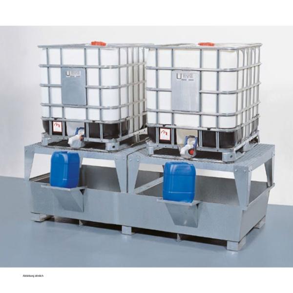 asecos Steel sump pallet 2 x KBC, galvanized, height 955 mm, 2 dispensing  platforms
