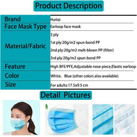 3-layer disposable mask (50 pieces) - mouth and nose mask...